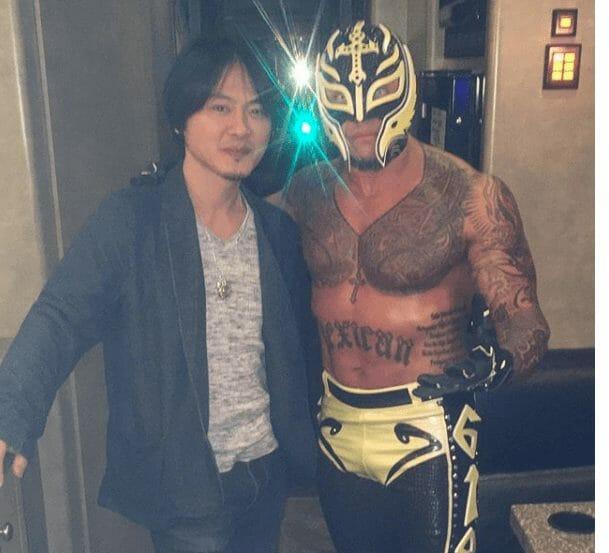Rey Mysterio with Japanese costume designer, Mashiro Hayashi
