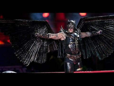 Rey Mysterio as Birdman, complete with extendable bat wings!