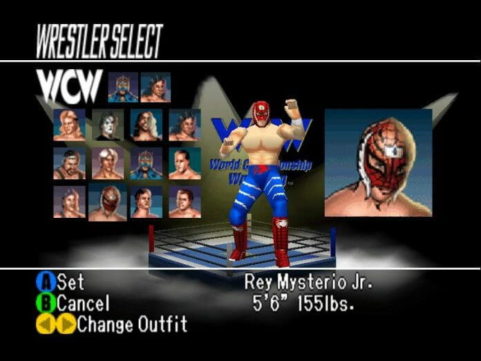Rey Mysterio Spider-man attire, selectable in the smash hit wrestling games,