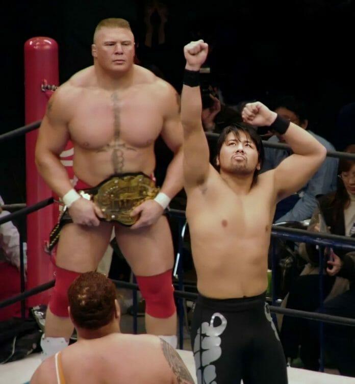 Brock Lesnar sizes up Shinsuke Nakamura.