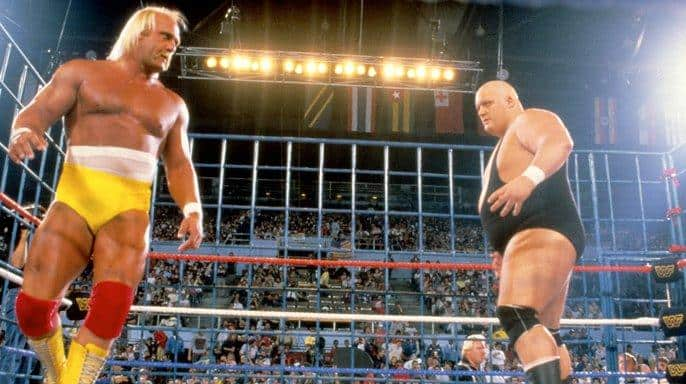 Hulk Hogan vs. King Kong Bundy at WrestleMania 2, the first time the then-WWF's blue bar steel cage was used. April 7th, 1986,