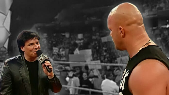In a WWE ring, eight years after Eric Bischoff fires Steve Austin from WCW. Monday Night Raw, November 3, 2003.