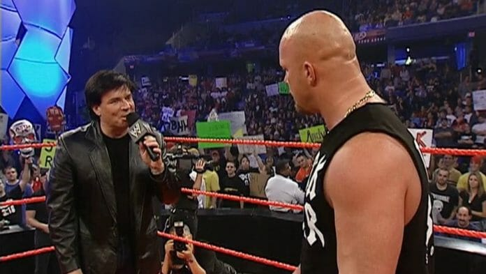 The two meet in a WWE ring eight years after Eric Bischoff fires Steve Austin from WCW. Monday Night Raw, November 3, 2003