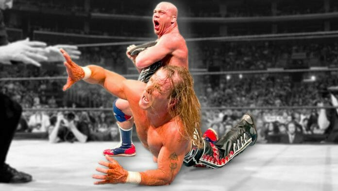 Kurt Angle with the Angle Lock applied to Shawn Michaels at WrestleMania 21, April 3rd, 2005.