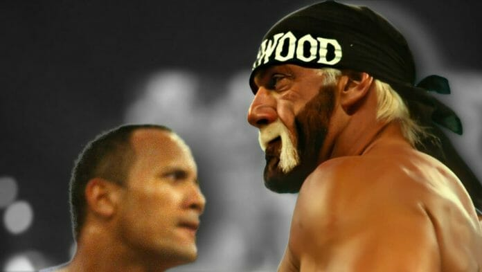 The Rock and Hulk Hogan at WrestleMania X8. Icon vs. Icon. One of the greatest WrestleMania moments of all time.