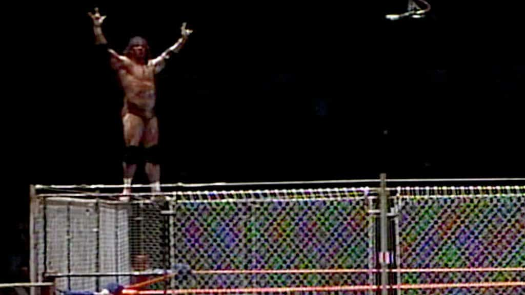 Jimmy 'Superfly' Snuka on top of the steel cage at Madison Square Garden on October 17, 1983, before creating one of those memorable MSG moments of all time.
