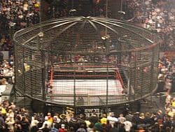 The original Elimination Chamber steel cage from Survivor Series 2002