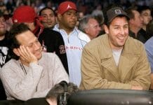 Adam Sandler and Rob Schneider at a wrestling event