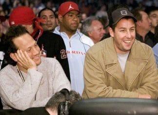 Adam Sandler and Rob Schneider at a wrestling event
