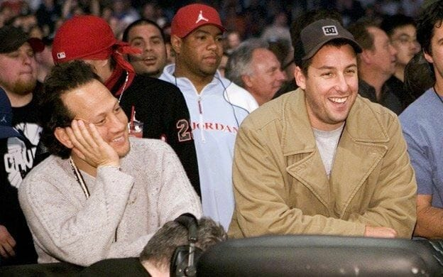 Celebrities you didn't know were wrestling fans - Rob Schneider and Adam Sandler at WrestleMania 21