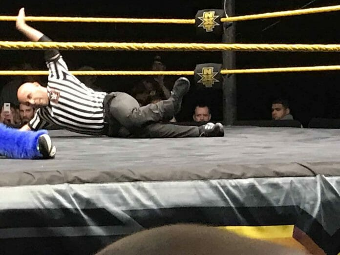 NXT referee Tom Castor broke his ankle in the line of duty last night in the main event of Omaha, Nebraska's house show yet somehow mustered up the strength to call to the end of the match.