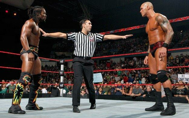 Kofi Kingston and Randy Orton face off. Orton is blamed for putting a stop to Kofi's big push in 2010.