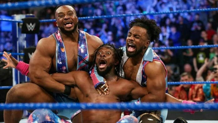 Kofi Kingston with New Day members Big E and Xavier Woods. After being held down for years, he has rightfully earned his place in a championship match at WrestleMania 35