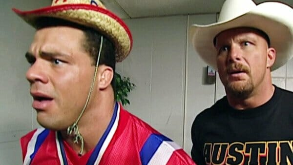 Kurt Angle, wearing his infamous little cowboy hat, talks what it was like to show his comedic side on camera when he and Steve Austin were out with an injury.