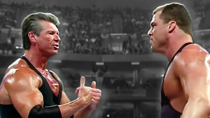 Vince McMahon and Kurt Angle, pictured here from a March 28th, 2002 SmackDown taping, had a scuffle at 38,000 feet. A sleeping Undertaker awoke and acted accordingly!
