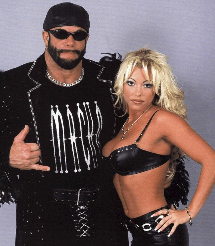 Randy Savage with Gorgeous George will in WCW. The two were an item off camera and she was a witness to the second fight that took place between Randy and Road Warrior Hawk. She even got involved in the action!