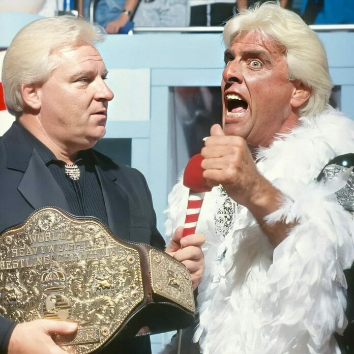 In one of the most shocking moments in wrestling history, Ric Flair debuts on WWF television for the first time with Bobby Heenan alongside his NWA Championship Belt, WWF Prime Time Wrestling, September 9th, 1991.