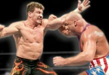 Eddie Guerrero and Kurt Angle, shown here in their 2004 WWE Championship match at WrestleMania XX, were like brothers outside the ring. With brothers, things have a tendency to get a bit physical from time to time. In one instance backstage, the two of them really got into it!