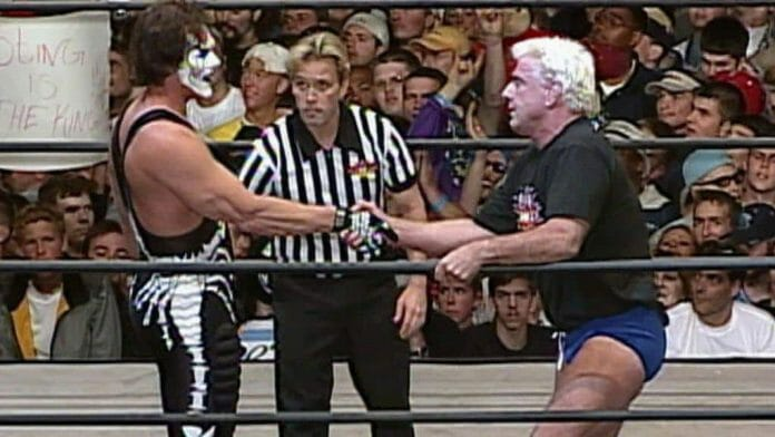 Robinson officiating the final ever match on WCW Nitro, Sting vs. Ric Flair, March 26, 2001.