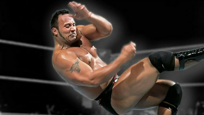 The Rock delivering The People's Elbow with great intensity.