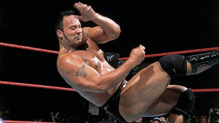 The Rock delivers The People's Elbow with great intensity.