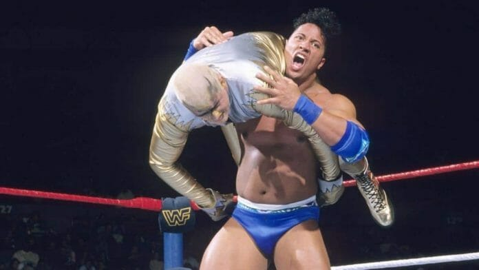 """The Rock, then known as """"Rocky Maivia"""", used the Running Shoulder Breaker as his original signature move"""