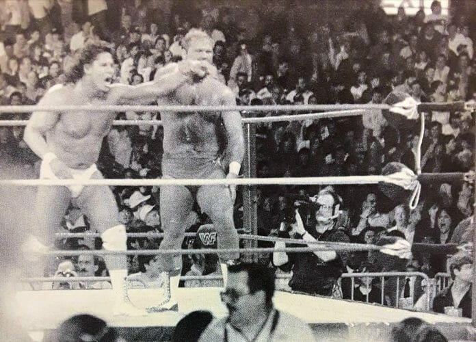 Tito Santana of Strike Force alongside Arn Anderson of The Brain Busters looks to make a tag but Rick Martel's nowhere to be found! WrestleMania V.