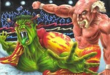 The two Hulk's do battle. Fantasy art on Deviantart by MrJimiMadcap.