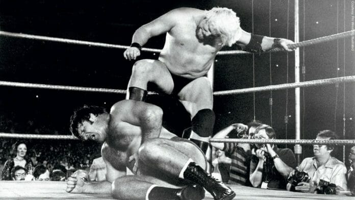 A young and green Stan Hansen stomps on Bruno Sammartino in 1976.