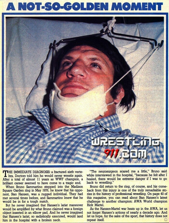 Newspaper clipping showing Bruno Sammartino in the hospital recouping after Stan Hansen fractured his sixth vertebra.