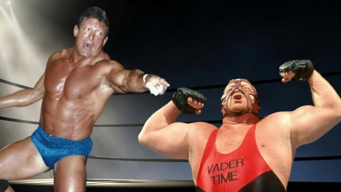 Paul Orndorff, Vader, and backstage witnesses describe the messy backstage fight that led to Vader's departure from WCW in 1995. [Photo design: JP Zarka of ProWrestlingStories.com]