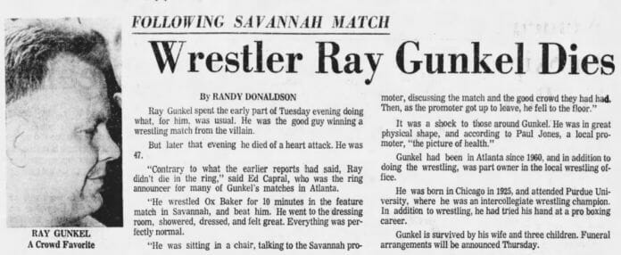 Newspaper report on the death of wrestler Ray Gunkel [Photo: The Atlanta Constitution, August 3rd, 1972]
