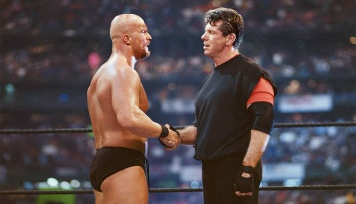 Stone Cold Steve Austin turns heel and aligns himself with 'the devil himself', Vince McMahon at WrestleMania 17.