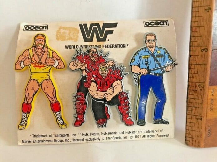The majority of Hulk Hogan WWF products had a trademark notice on them which read, 'Hulk Hogan is a trademark of the Marvel Comics Group, licensed exclusively to TitanSports, Inc.' as evidenced at the bottom of the packaging of these WWF badges.