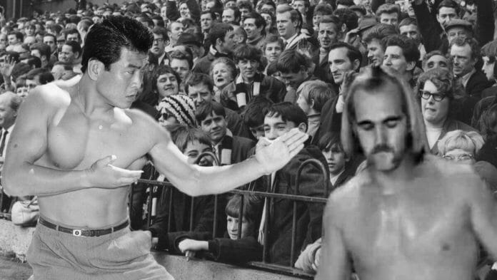 Hiro Matsuda - The Man Who Broke Hulk Hogan's Leg [photo design: JP Zarka of ProWrestlingStories.com]