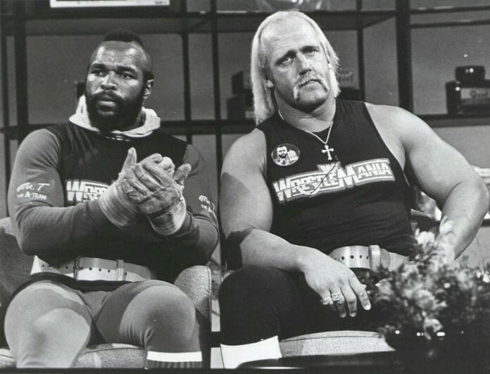 Hulk Hogan and Mr. T during the inaugural WrestleMania promotional run on the Richard Belzer show Hot Properties, March 27, 1985.
