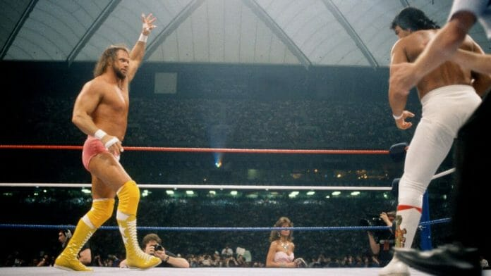 Randy Savage faces off against Ricky Steamboat at WrestleMania III, a match that inspired a generation.