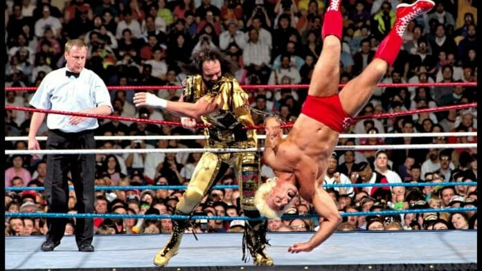 Randy Savage and Ric Flair, pictured here at WrestleMania VIII, had contrasting mentality in and out of the ring.