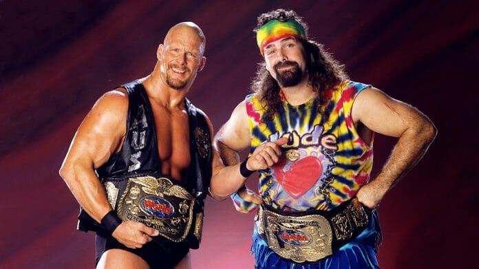 The peculiar pairing of Steve Austin and Dude Love were WWF tag team champs in 1997.