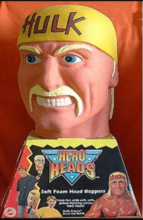 The Hulk Hogan Hero Head looking less than impressive compared to his advertised counterpart.