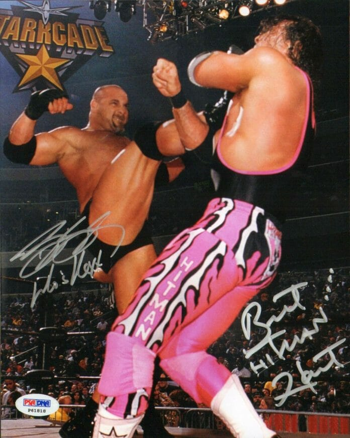 An autographed picture of Goldberg ending the career of Bret Hart at WCW Starrcade 1999