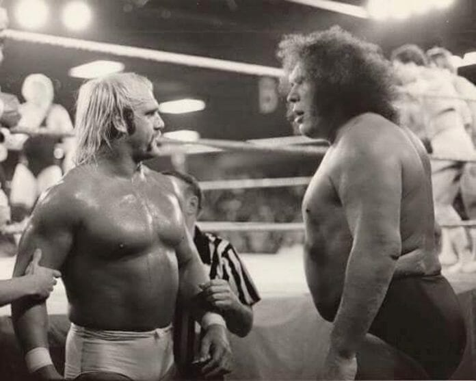 Hulk Hogan and Andre the Giant square off for the first time at Sea Stadium on August 9, 1980.