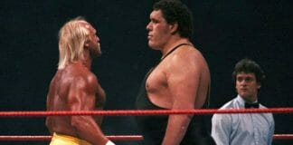 Battle of the Titans. Hulk Hogan and Andre the Giant face off at WrestleMania III.
