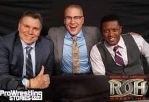 Lanny Poffo, Ian Riccaboni, and Caprice Coleman of Ring of Honor