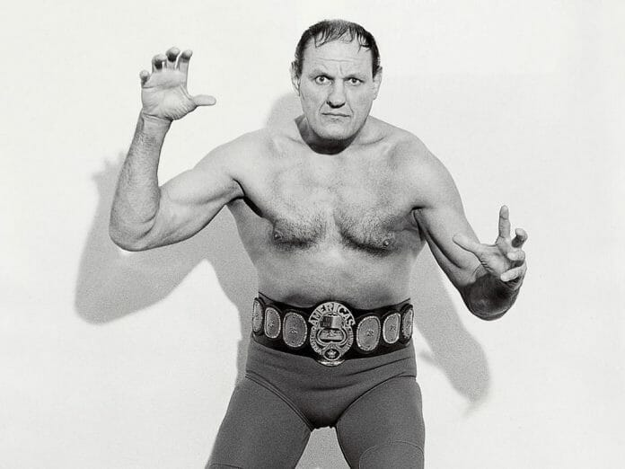 Killer Kowalski with the Americas Wrestling Championship title. This was NWA Los Angeles.