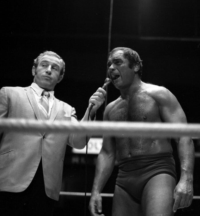 Despite his normal appearance, John Tolos (right) was as dangerous as they came. Here pictured with Gene LeBell in Los Angeles, CA. © Photographer: Theo Ehret
