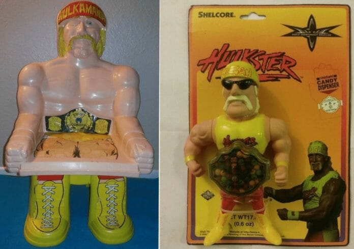Two more wacky pieces of Hulk Hogan merchandise, a plastic chair and a candy dispenser.