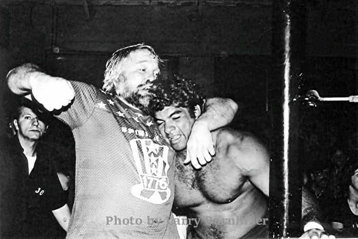 Lonnie Mayne wastes no time in giving Don Muracco a knuckle sandwich during a 1978 match in northern California.
