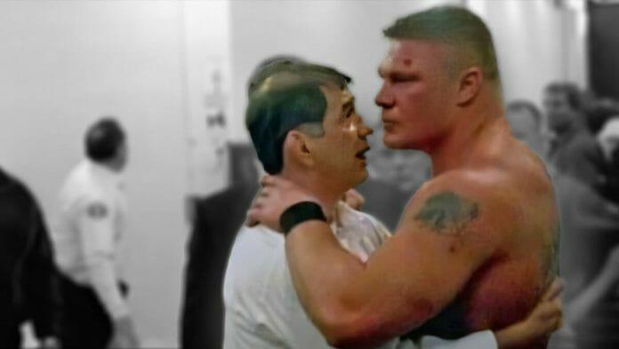 Gerald Brisco consoles Brock Lesnar backstage at WrestleMania 19.