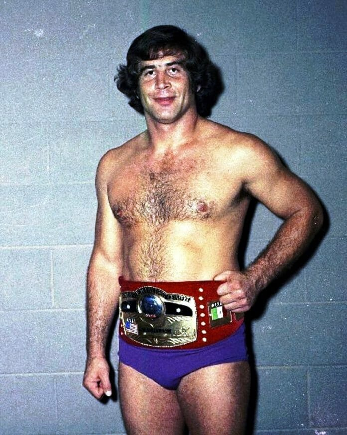 The late-great Jack Brisco as NWA Worlds Heavyweight Champion, sporting the red leather strap. Jack is credited for discovering Hulk Hogan after seeing the real-life Terry Bollea perform live with his band Ruckus at a Florida nightclub.